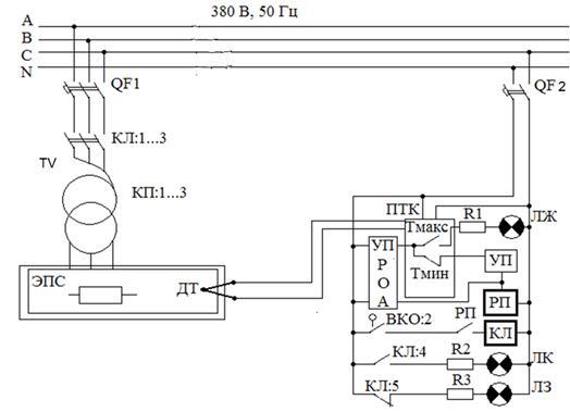 схема управления электрической печи сопротивления
